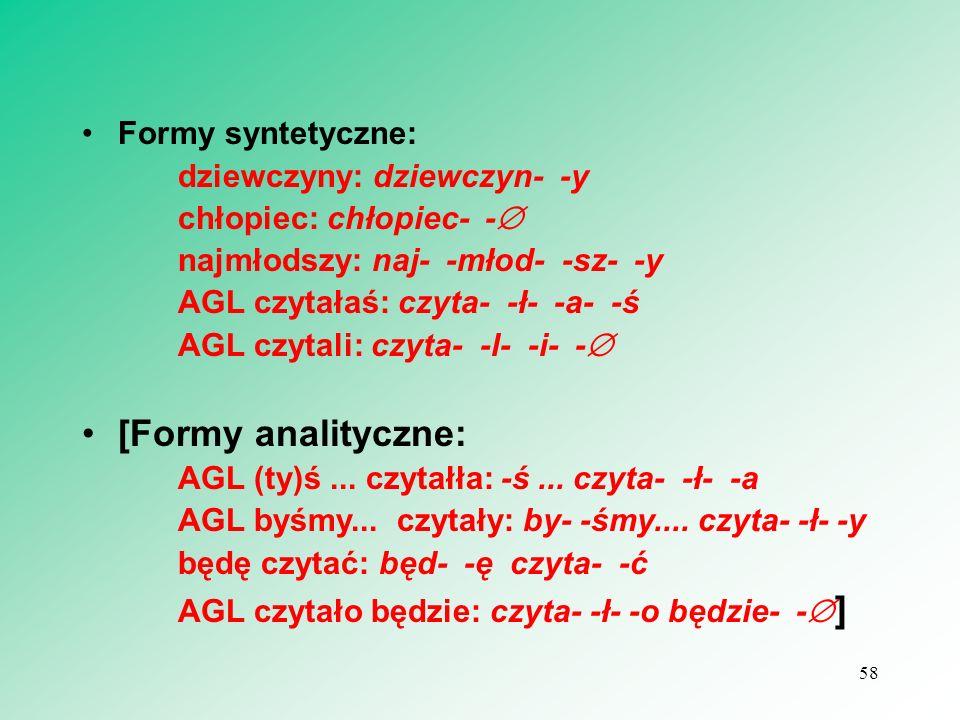 [Formy analityczne: Formy syntetyczne: chłopiec: chłopiec- -